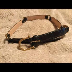 Fossil Italian leather belt croc black vintage S